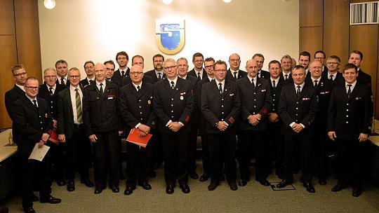 Zahlreiche Ehrungen und Beförderungen erfuhren fast 40 Mitglieder der Löschgruppen in der Gemeinde Simmerath nun bei der Feierstunde im Rathaus. Foto: P. Offermann