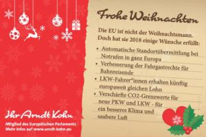 Weihnachtsgruß von Arndt Kohn, MdEP